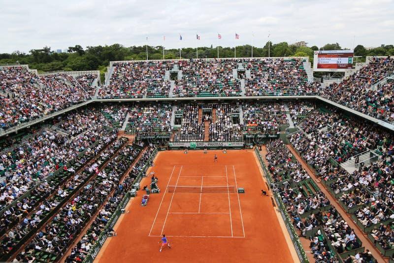 Dworski Philippe Chatrier przy Le Stade Roland Garros podczas Roland Garros 2015 dopasowania fotografia royalty free