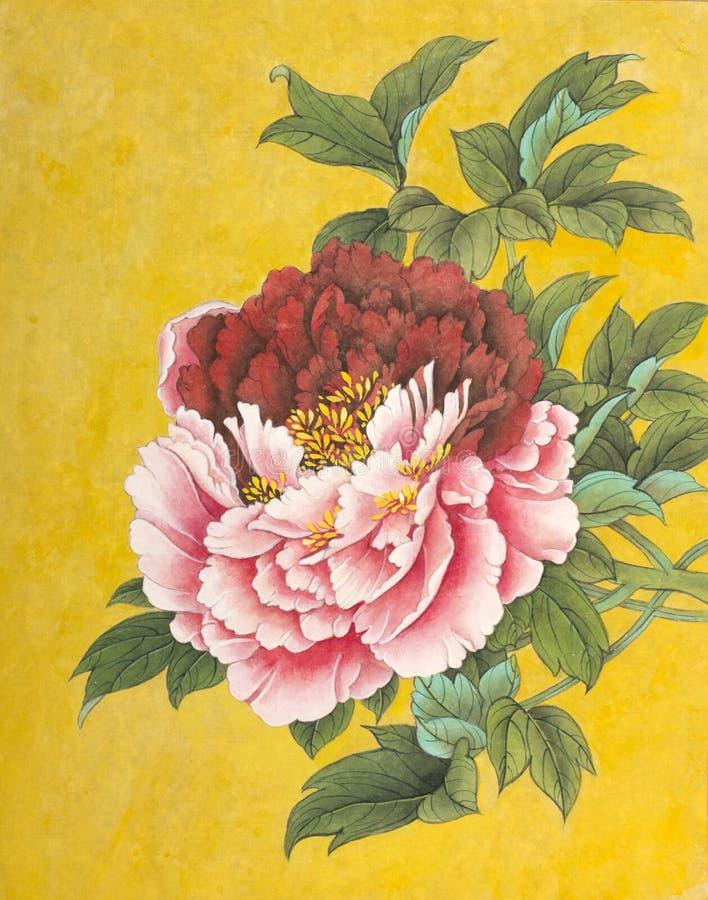 Dwubarwna peonia na złocistym tle ilustracja wektor