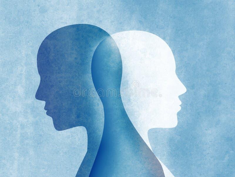 Dwubiegunowego nieładu umysł umysłowy Rozszczepiona osobowość Trybowy nieład Podwójny osobowości pojęcie Sylwetka na błękitnym tl ilustracja wektor