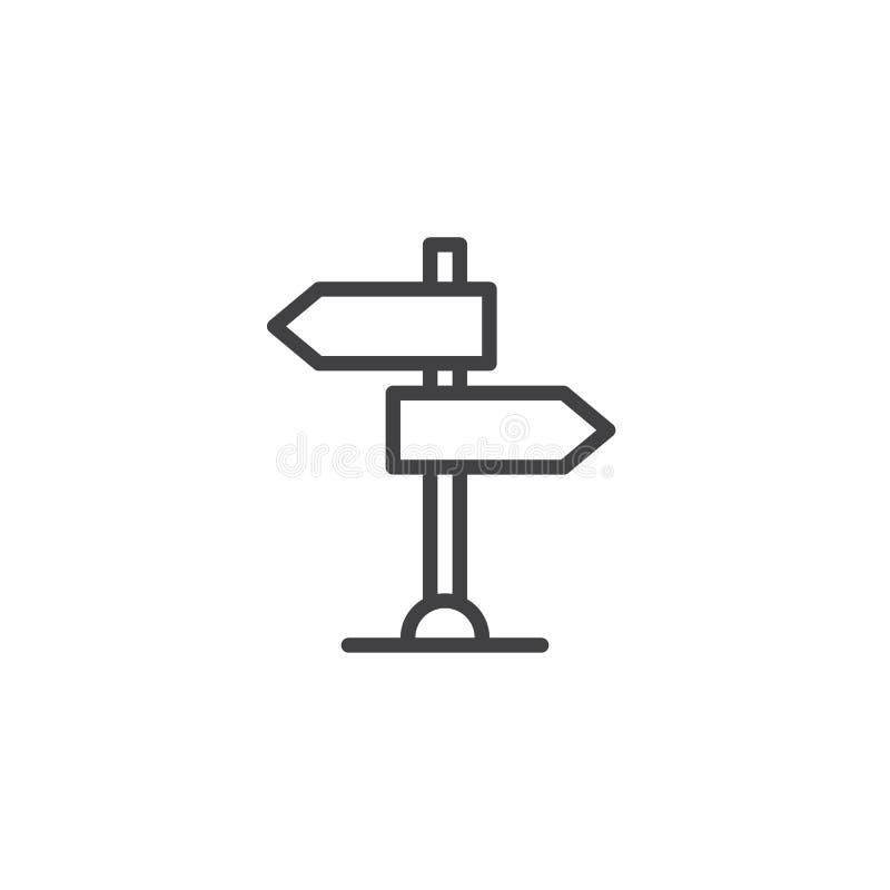 Dwudrogowy kierunkowskaz, pointeru konturu ikona royalty ilustracja