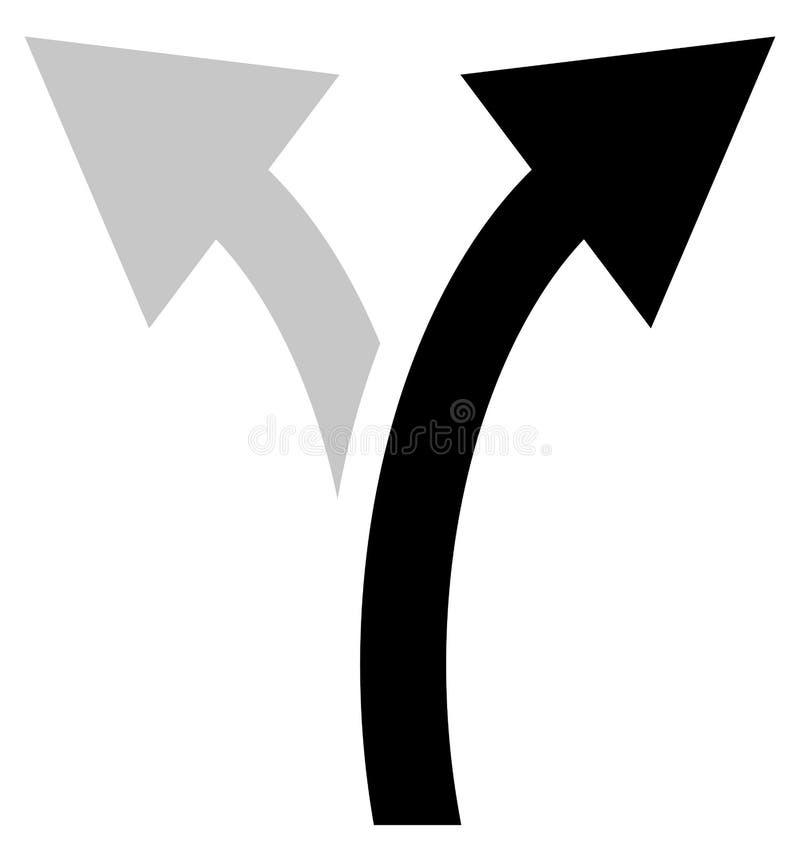 Dwudrogowy strzałkowaty symbol, strzałkowata ikona Wyginać się strzała lewy i prawy royalty ilustracja