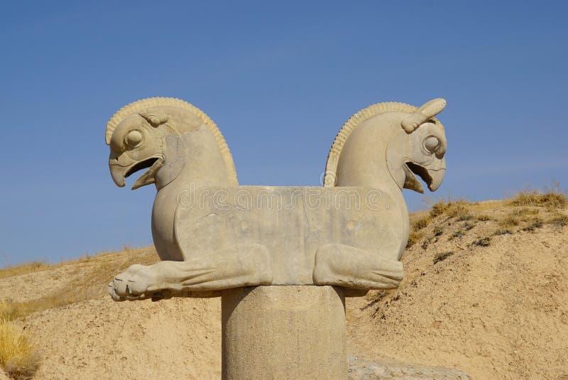 Dwugłowa gryf statua w Persepolis, Iran obrazy stock