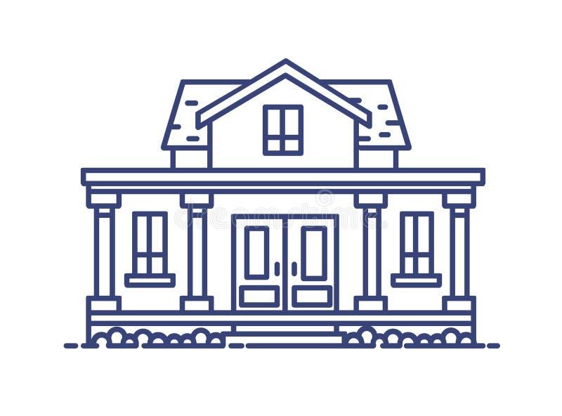 Dwupiętrowy mieszkaniowy dom z ganeczkiem i kolumnami budował w klasycznym architektonicznym stylu Elegancki budynek rysujący z ilustracji
