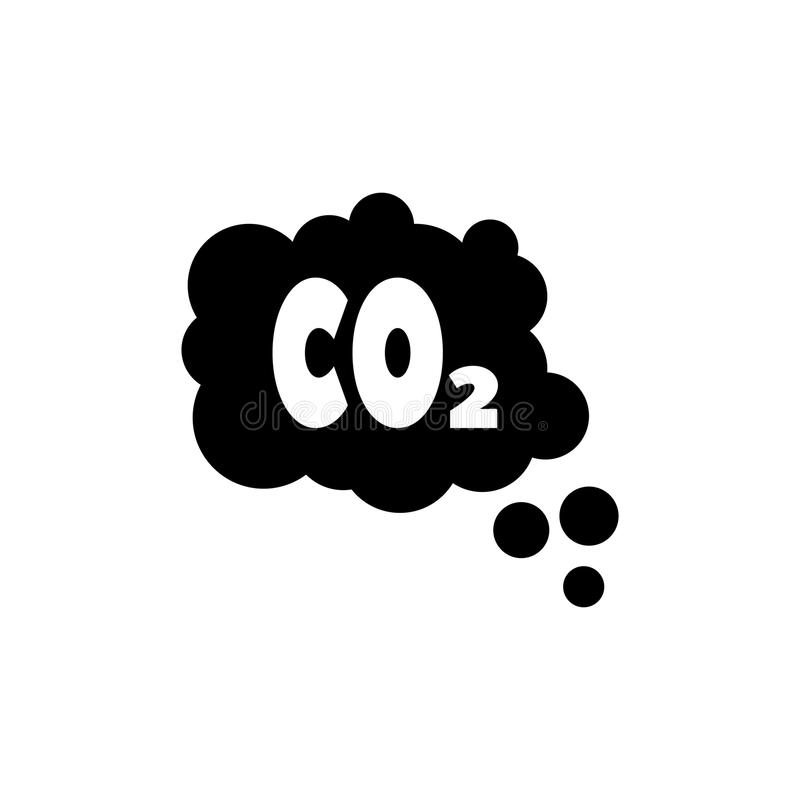 DWUTLENEK WĘGLA emisj chmura, smogu zanieczyszczenia Płaska Wektorowa ikona royalty ilustracja