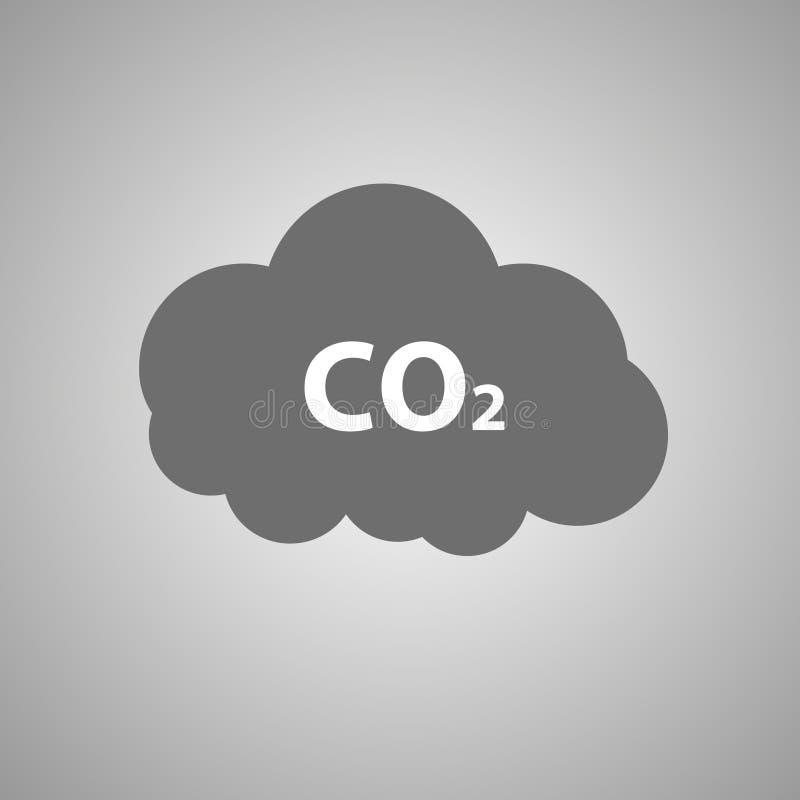 DWUTLENEK WĘGLA emisj ikona C02 chmury wektoru ilustracja ilustracji