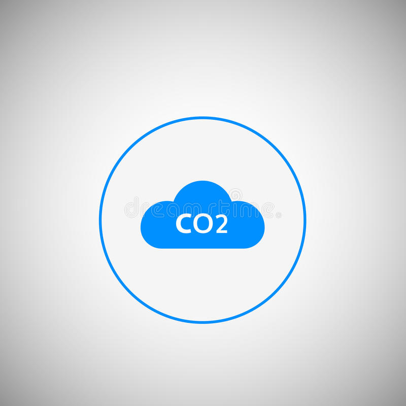 DWUTLENEK WĘGLA emisj ikona DWUTLENEK WĘGLA chmura w płaskim projekcie royalty ilustracja