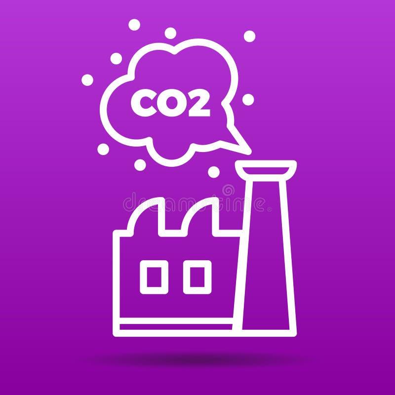 Dwutlenek węgla emisj ikony wektoru ilustracja ilustracja wektor