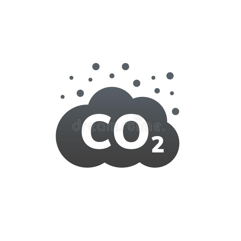 DWUTLENEK WĘGLA emisji wektoru ikona Węgla gazu chmura, dwutlenku zanieczyszczenie Globalny ekologii wydmuchowej emisji smogu poj ilustracji