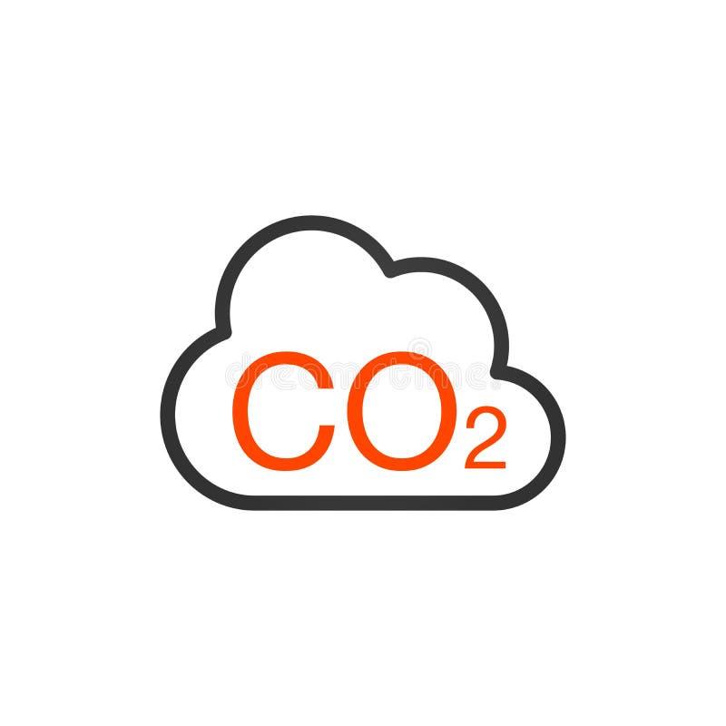 DWUTLENEK WĘGLA ikona Obłoczne dwutlenek węgla emisje Zanieczyszczenie powietrze i środowisko royalty ilustracja