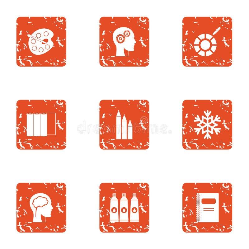 Dye icons set, grunge style vector illustration
