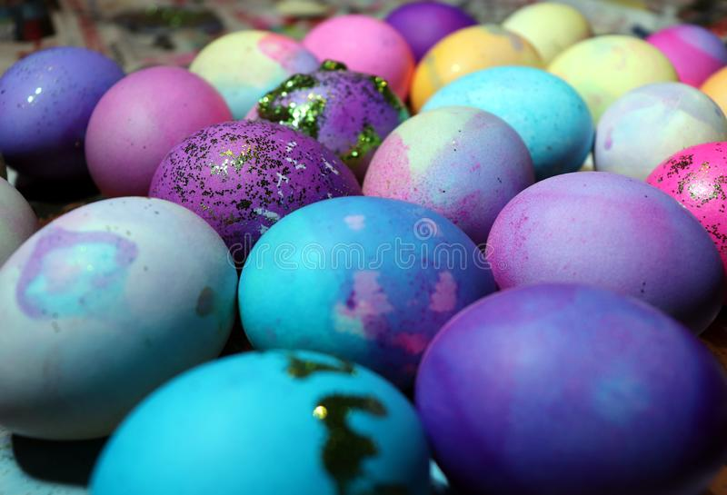 Dyed Easter eggs drying royalty free stock photo