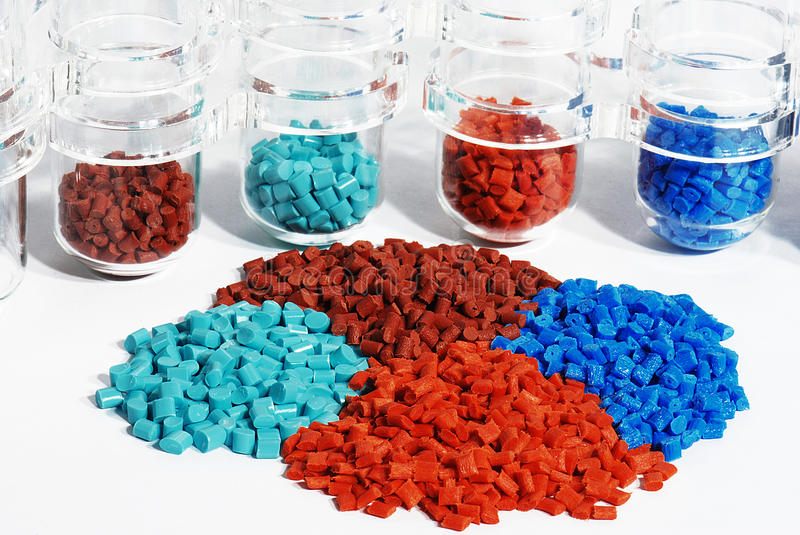 Download Dyed Plastic Granulate In Test Glasses Stock Image - Image: 14414015