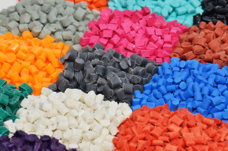 Dyed polymer. Several dyed polymer resin batches in laboratory royalty free stock images