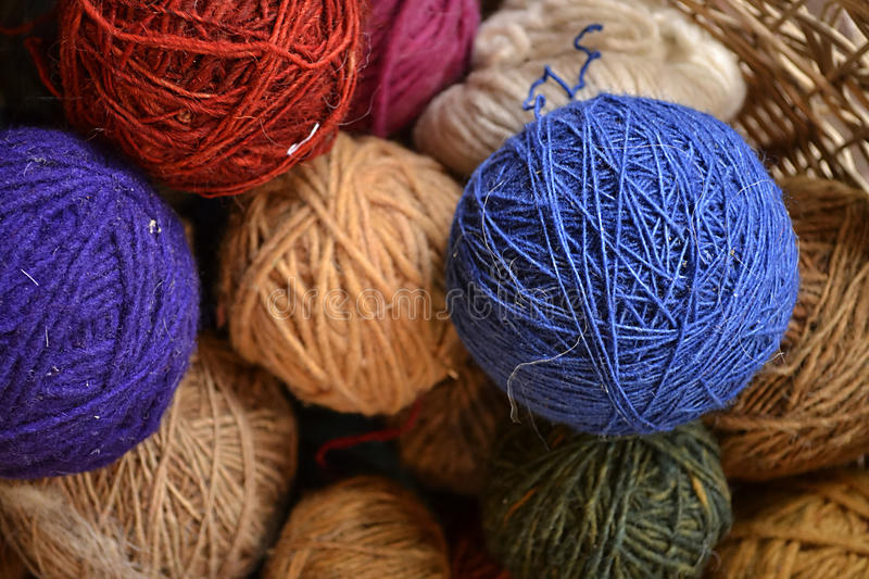 Dyed woolen threads. Natural dyes from Mexico, such as cochineal, indigo and logwood were used for these woolen threads stock images