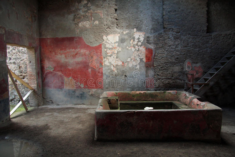 Dyeing works at Pompei. Interior of dying works at Pompei, Italy royalty free stock photography