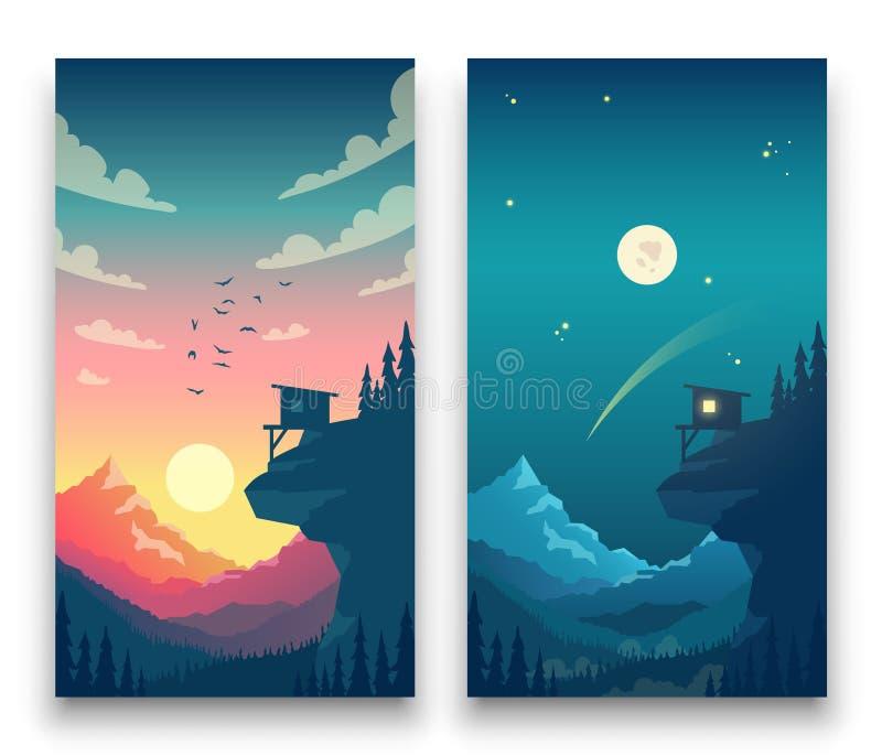 Dygnet runt plant vektorberglandskap med månen, solen och moln i himmel Vektorbegrepp för väder app stock illustrationer