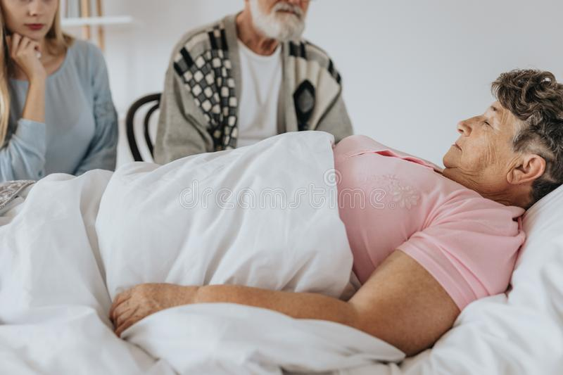 Dying in hospital stock image