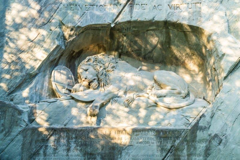 dying lion monument, landmark in Lucerne Switzerland royalty free stock image