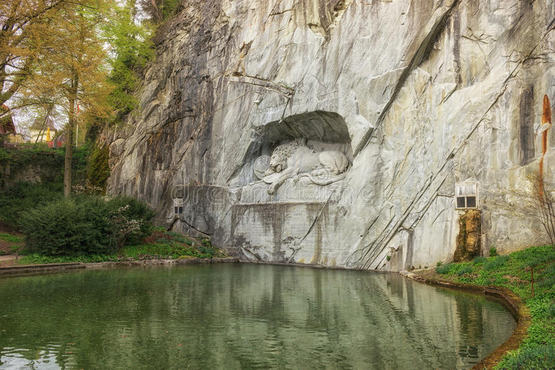 Dying Lion Wall Monument, Lucerne Switzerland stock photos