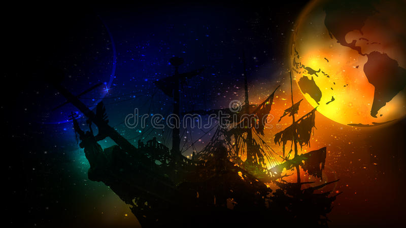 The dying planet. A ghost ship leaves the dying planet vector illustration