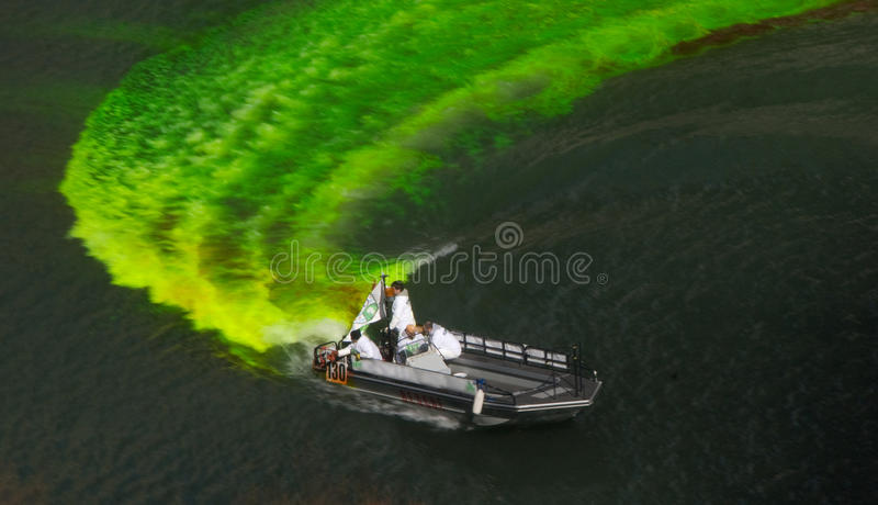 Dying the River for St. Patrick's Day royalty free stock image
