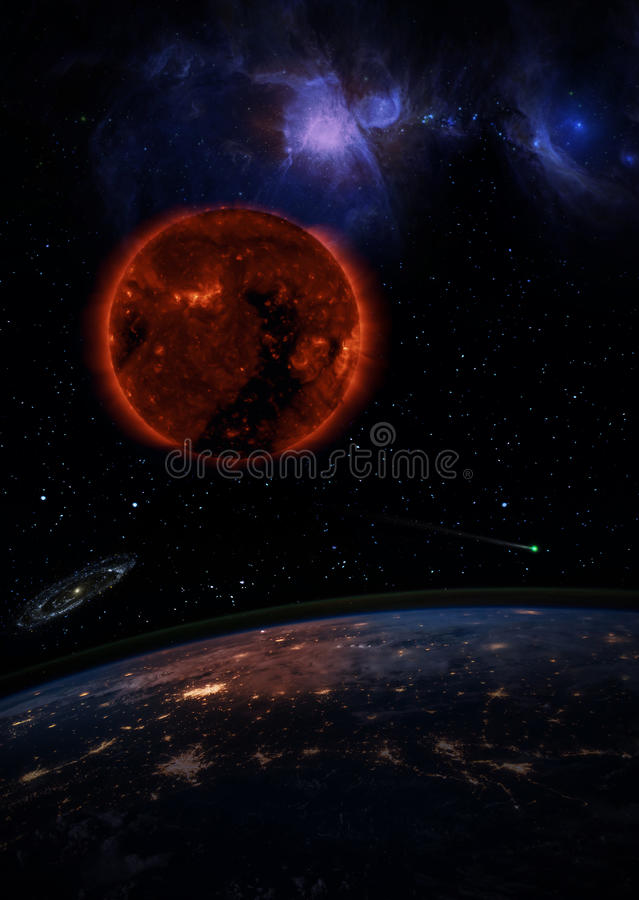 Dying Sun over the dark planet Earth. A galaxy is spinning in the distance and a comet is running in the space. Elements of this image furnished by NASA stock images