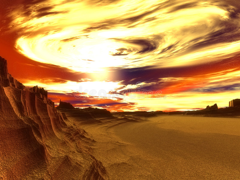 Dying World. Fantasy landscape of a dehydrated world in due of global warming. Very detailed stock illustration