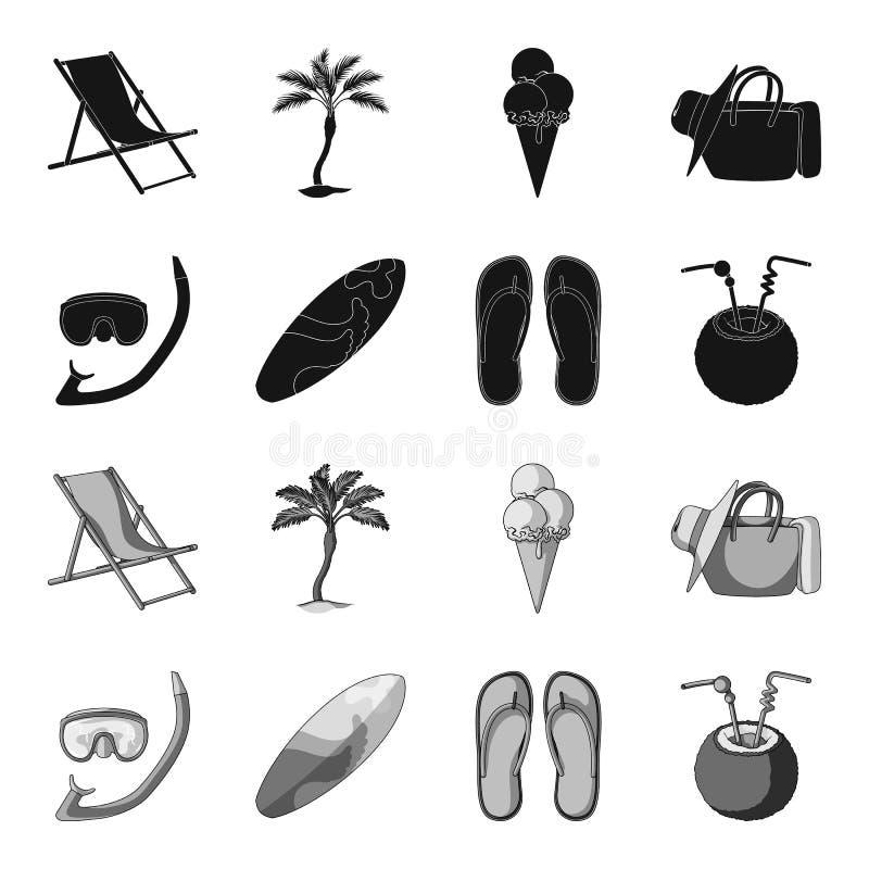 Dyka och att surfa, coctail Symboler för samling för uppsättning för sommarsemester i svart, monokromt materiel för stilvektorsym stock illustrationer