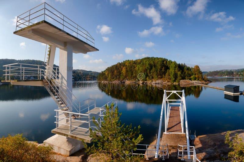 Dyka tornet och plattformen i Olavsberget badningområde nära Porsg arkivfoton