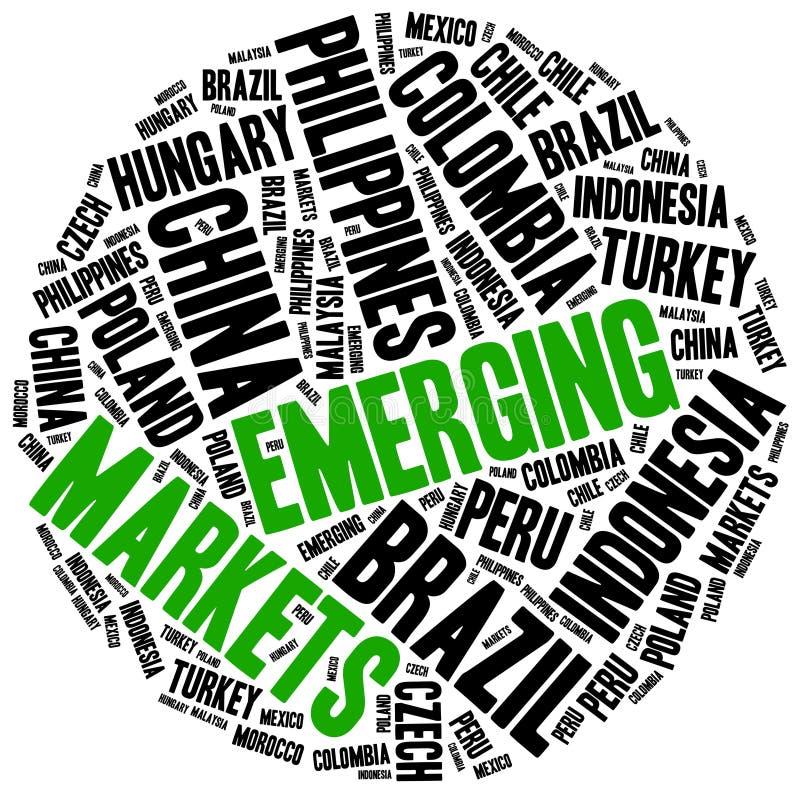 dyka upp marknader Collage för etikettsmolnbegrepp stock illustrationer