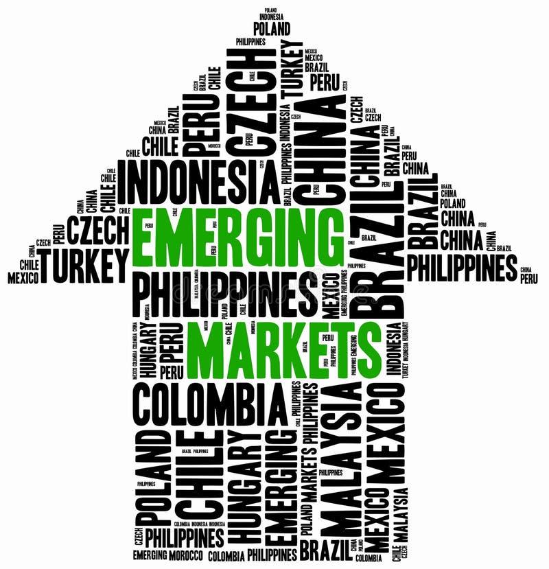 dyka upp marknader Collage för etikettsmolnbegrepp vektor illustrationer