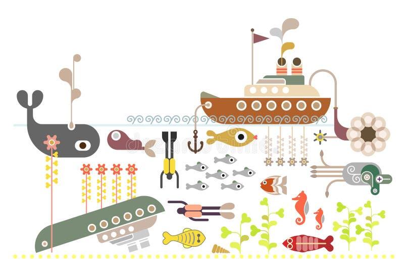 Dykapparatdykning vektor illustrationer