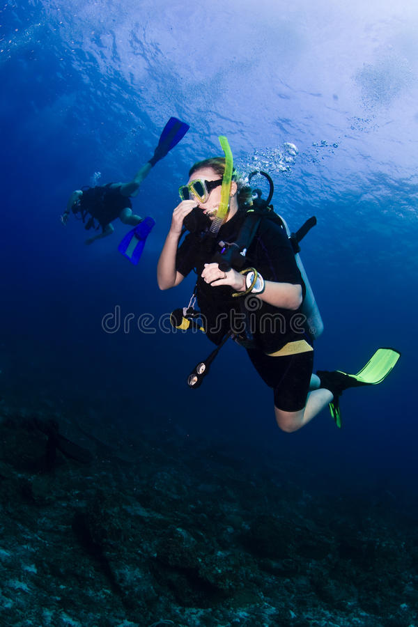 Dykapparatdykning i Thailand royaltyfri bild