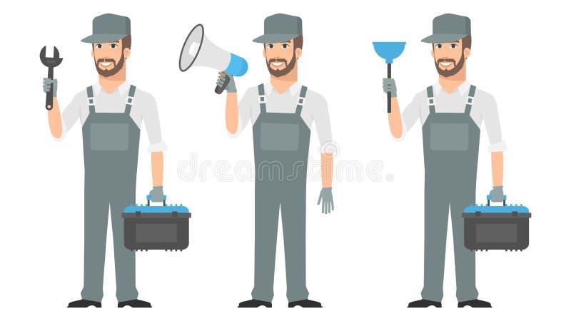 Dykare för megafon för skiftnyckel för hållande hjälpmedel för Repairman vektor illustrationer