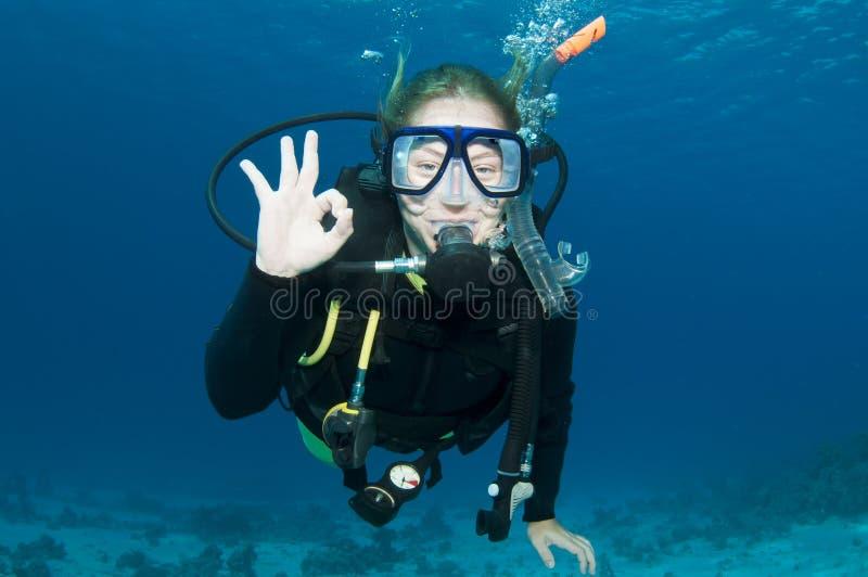 dykare gör det ok scubatecknet arkivfoto