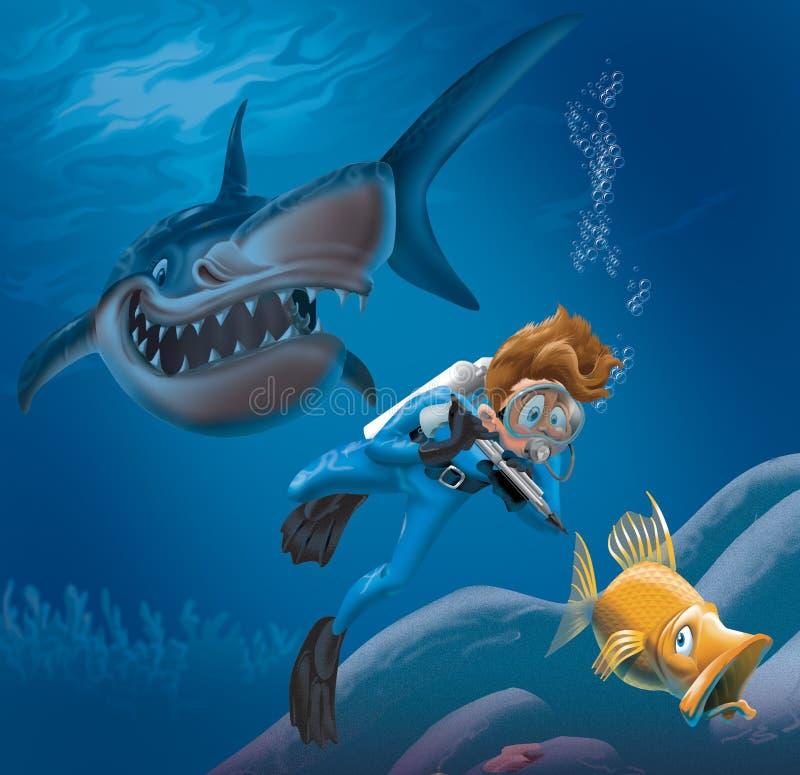 dykare och haj royaltyfri illustrationer