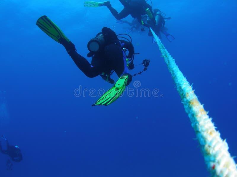 Dykare på ett säkerhetsstopp arkivfoton