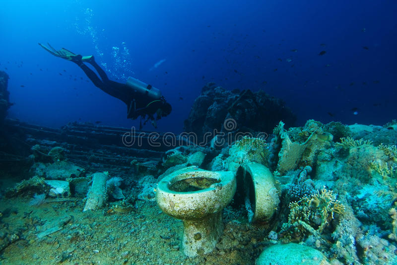 Dykaren undersöker den Yolanda reven arkivbild