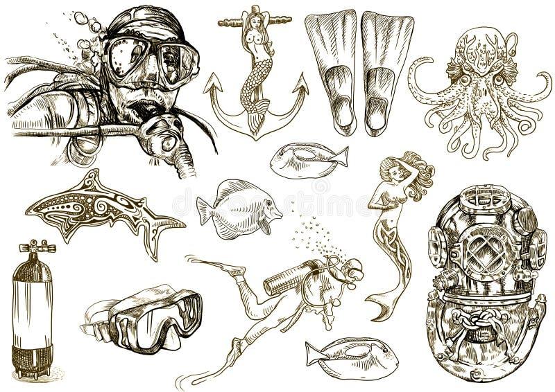 dykning royaltyfri illustrationer