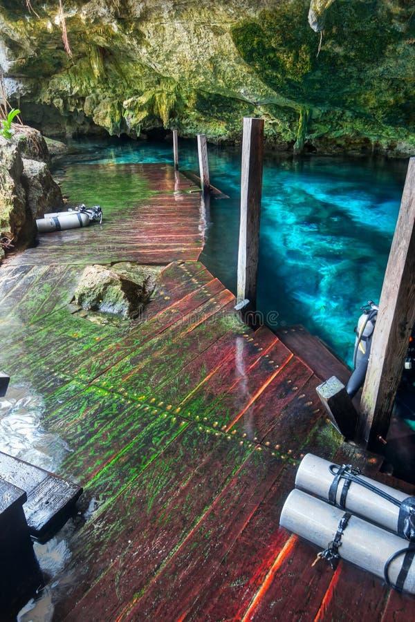 Dykning för den Cenote Dos Ojos Tulum Mexico Wooden trappuppgånggrottan buteljerar den underjordiska grottan royaltyfria foton