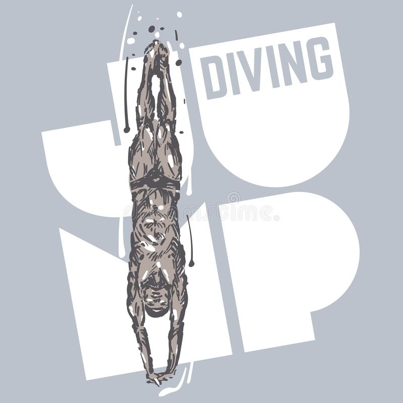 dykning man skissa vektor illustrationer