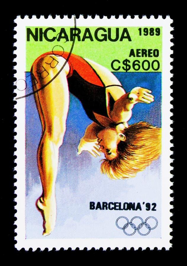 Dykning OS 1992 - Barcelona serie, circa 1989 royaltyfria foton