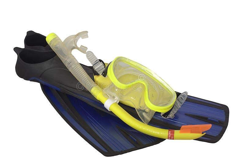 dykningfenor maskerar snorkelen royaltyfria bilder