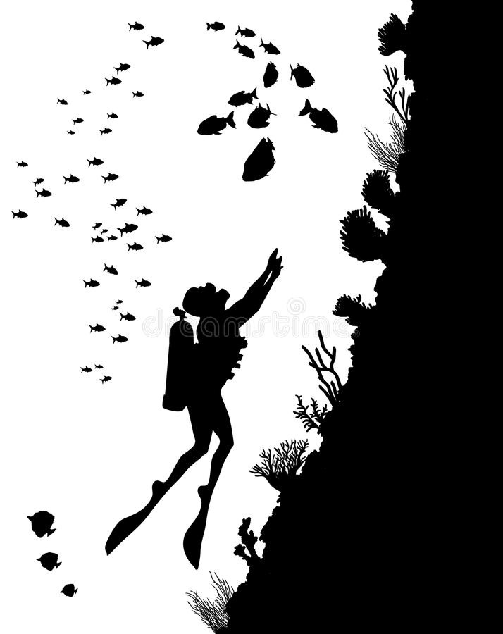 Dykningkonturer och undervattens- liv stock illustrationer