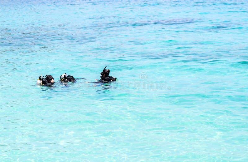 Dykningkurs i havet royaltyfri bild