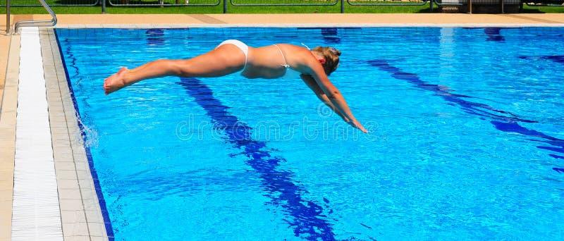 dykningkvinna royaltyfria foton