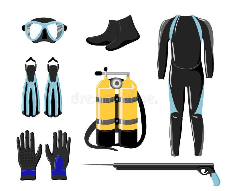 Dykningsamling För vattenhav för sport undervattens- handske och ficklampa stock illustrationer