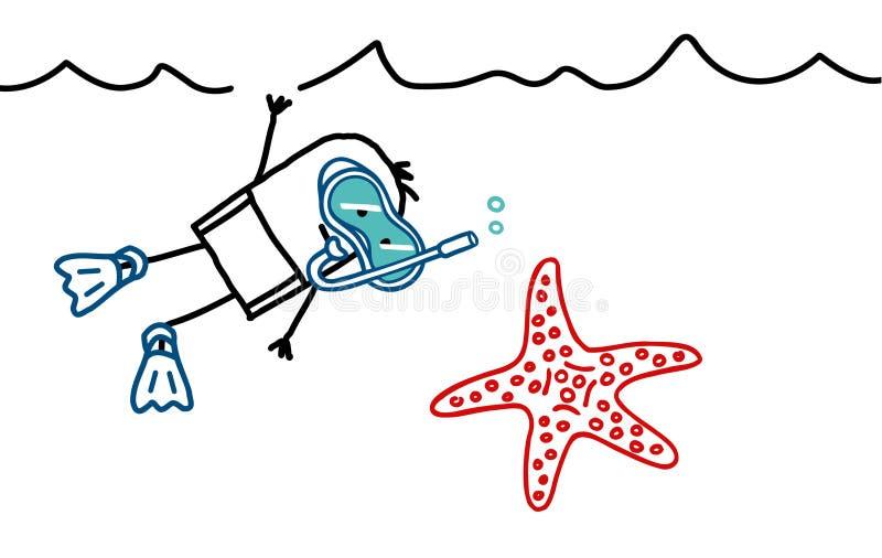 dykningscuba stock illustrationer