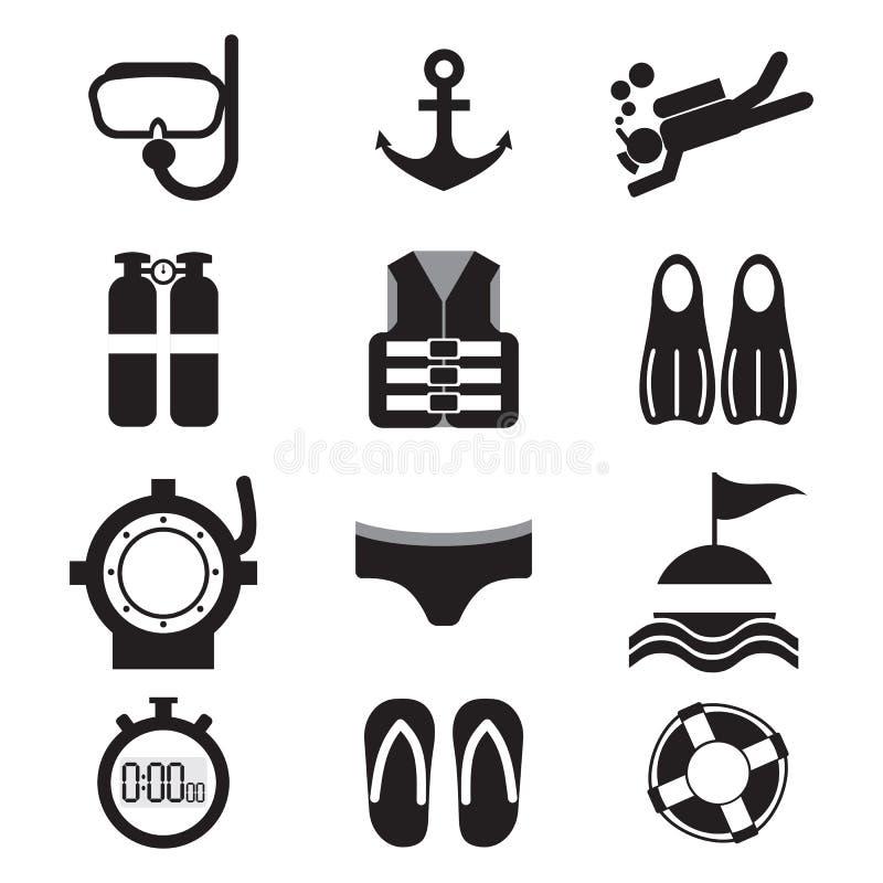 Dykningsymbolsuppsättning royaltyfri illustrationer