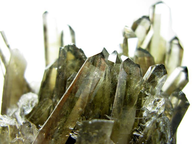 Dymiącej kwarc geody geological kryształy zdjęcie royalty free